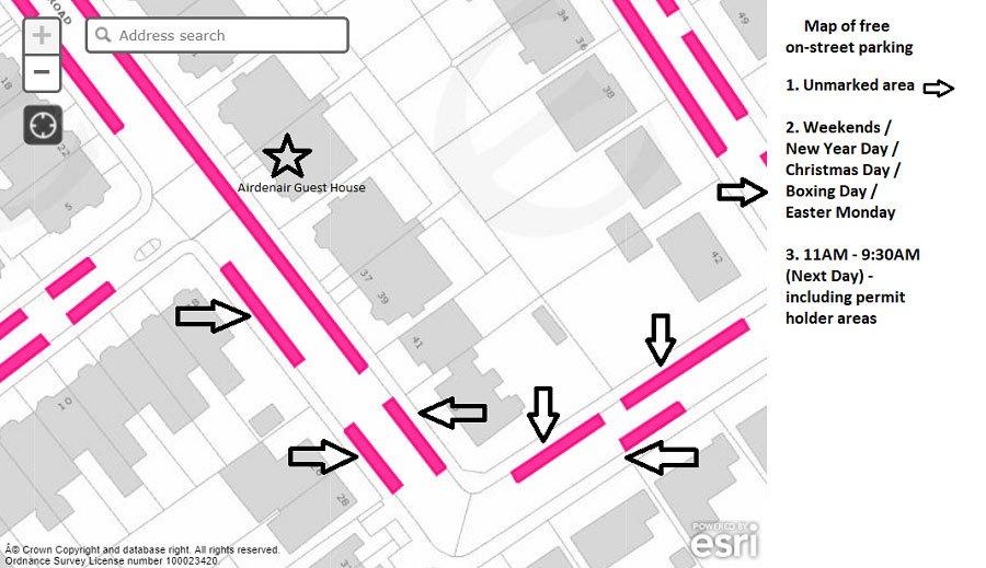 Parking Map around Airdenair Guest House